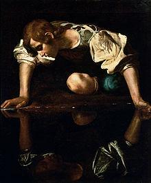 220px-Narcissus-Caravaggio_(1594-96)_edited